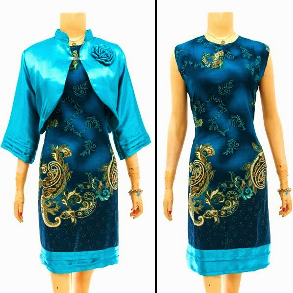 DB2892 Mode Baju Dress Batik Modern Terbaru 2014
