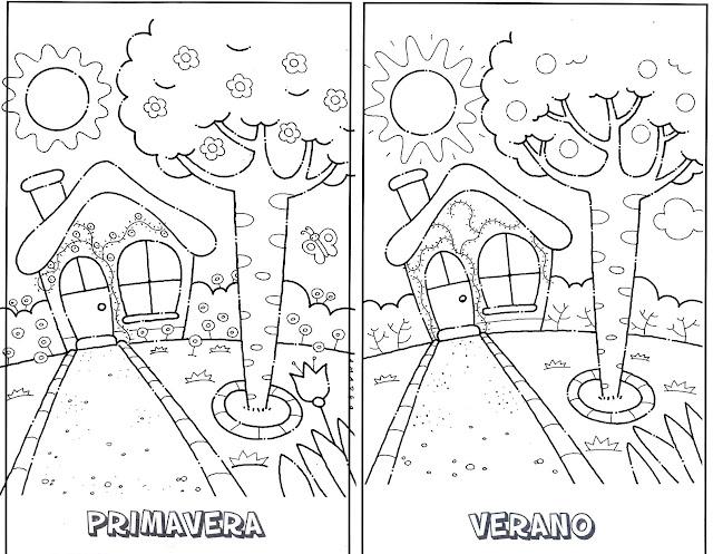 dibujos para colorear 4 estaciones del ano
