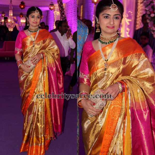 Gold Orange and Pink Silk Saree