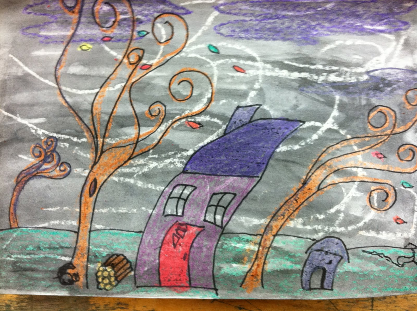 Windy Fall Day 2nd grade fall windy day art