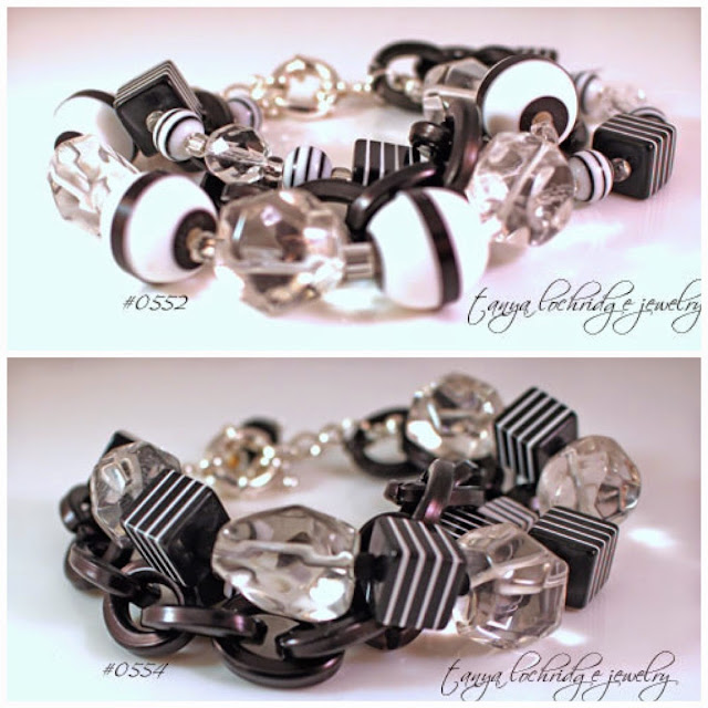 Tanya Lochridge Jewelry Black & White Resin Bead & Crystal Quartz Bracelet