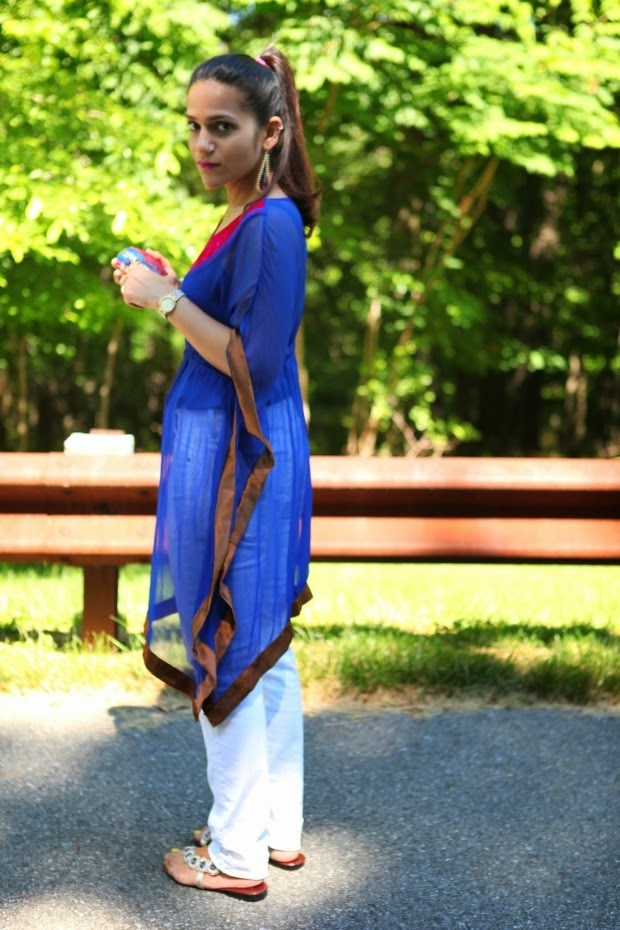 Kaftan, White Jeans, fibi & clo flats, chandelier earrings, Tanvii.com
