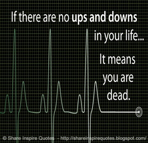 if there are no ups and downs in your life it means you