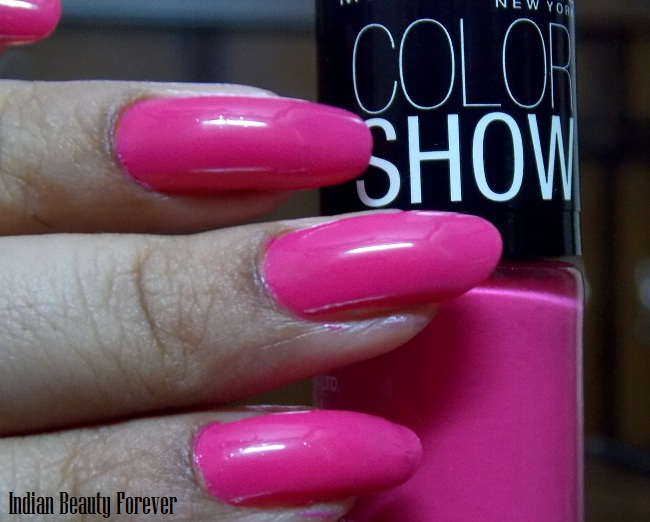 Maybelline color show Feisty Fuchsia nail paints swatches