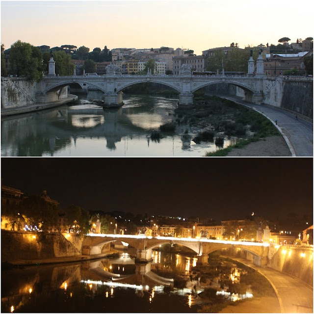The view of a bridge nearby the Castel Sant'Angelo was taken in the day and at night in Rome, Italy