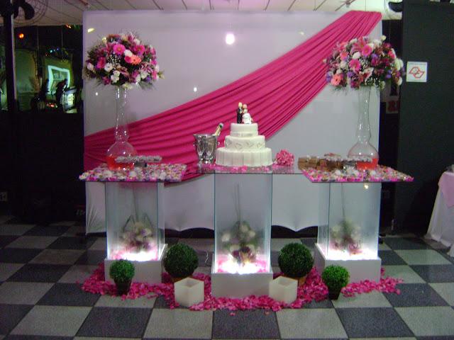 Buffet e Decorações Casamento Cor de Rosa, Pink e lilas