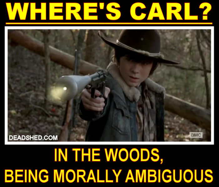 The_Walking_Dead_Season_3_Meme_Wheres_Carl_Woods_Morally_Ambiguous_DeadShed deadshed productions derle, merle, carl & t dog the walking dead