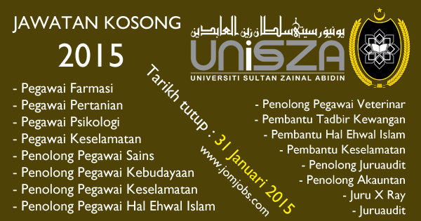 Jawatan Kosong Universiti Sultan Zainal Abidin Terengganu 2015