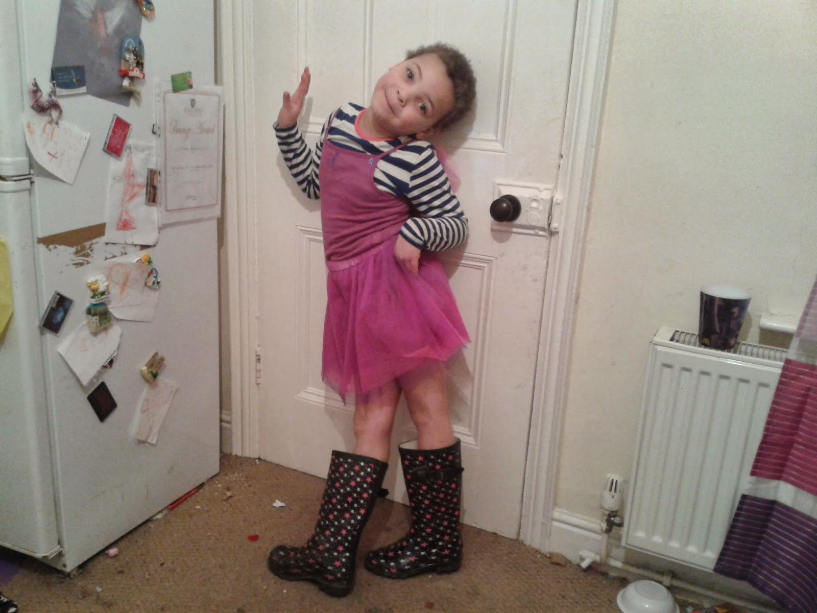madam wearing a fairy outfit and her wellies