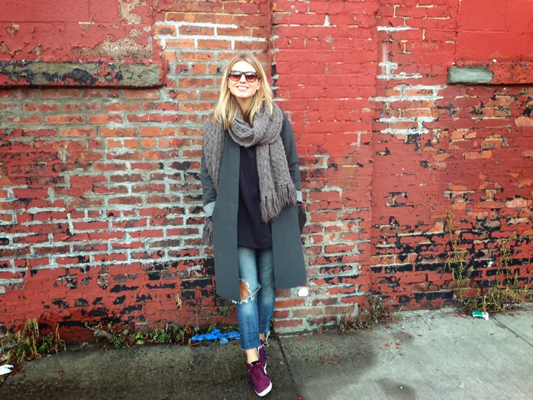 Zoran tunic distressed crop denim burgundy sneakers brick wall Brooklyn