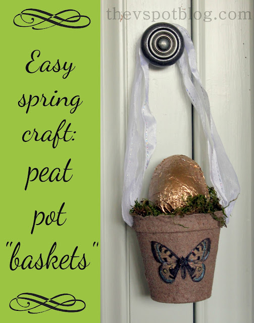 gold egg, peat pot, Easter, basket, spring,  butterfly, white ribbon, craft, diy