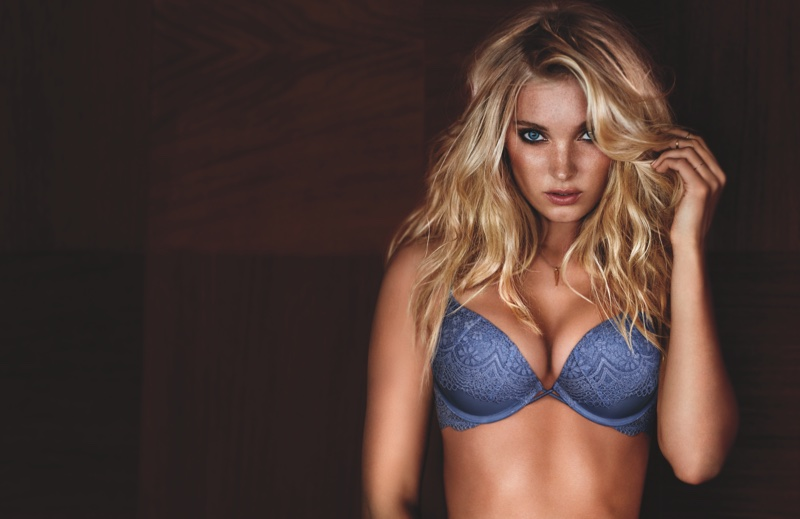 Elsa Hosk wears push-up bras for Victoria's Secret Campaign