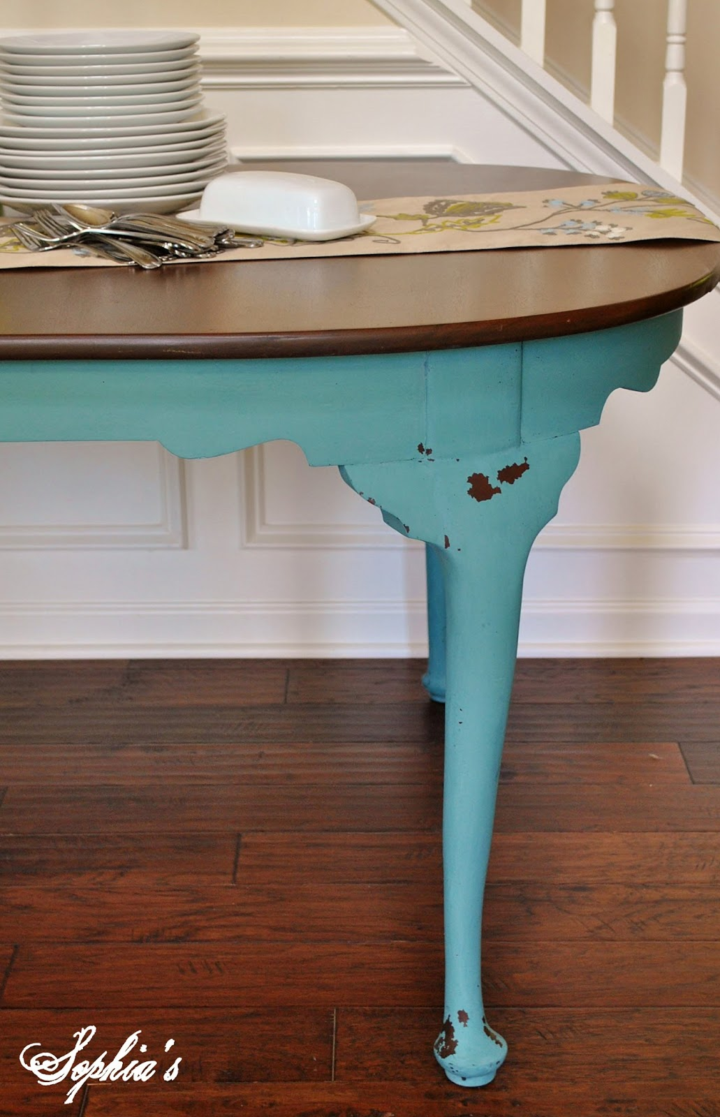 Sophia\'s: Two-toned Dresser and Kitchen Scale Dining Table