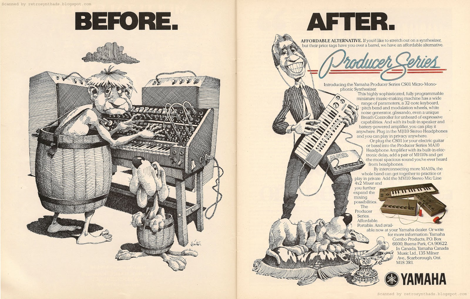 Series quot before after affordable alternative quot ad keyboard 1982
