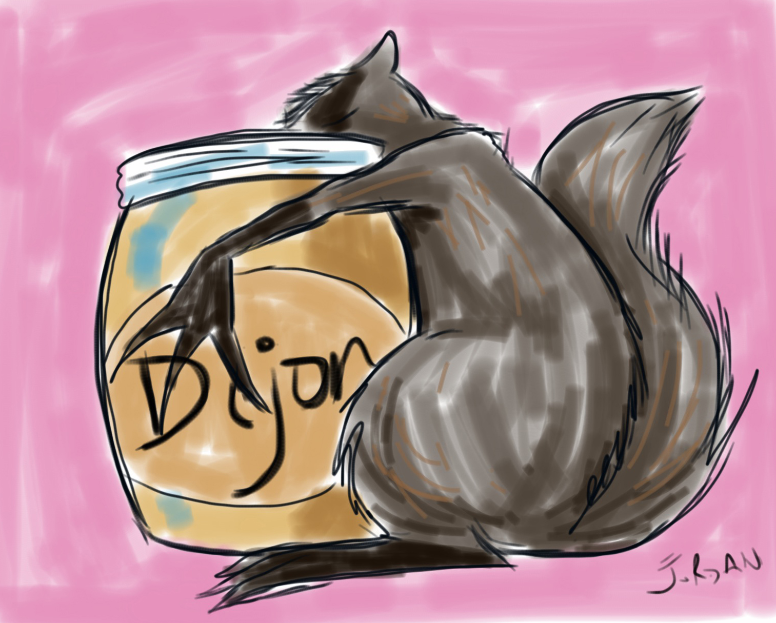 Drawing of badger eating dijon. GIRL, CRAFTED blog.