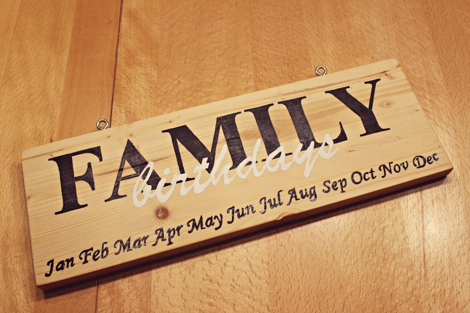 Meine kleine bunte welt diy geburtstagskalender family - Holz beschriften ...