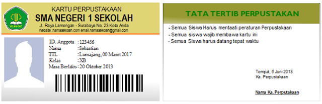 Kartu+Perpustakaan Simple Student Card Profesional