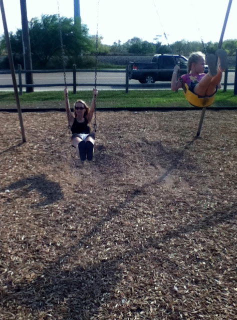 Wordless Wednesday - Mom and daughter swinging image