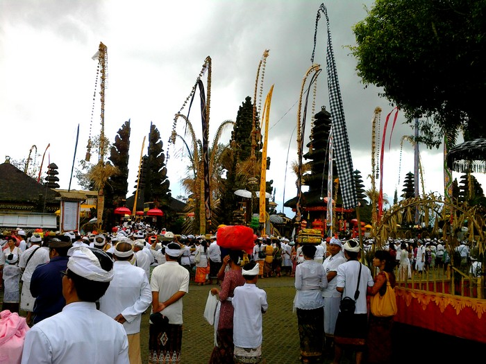 Balinese Hindu ceremony on August 29, 2012, is a celebration of Galungan, the triumph of good over evil
