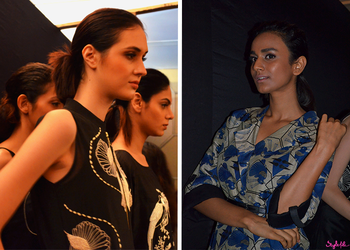 Arunima Mahaji showcases her latest winter festive collection with the strobing trend through highlighted cheeks, natural mauve lips and defined brows at Lakme Fashion Week held at St. Regis, Mumbai