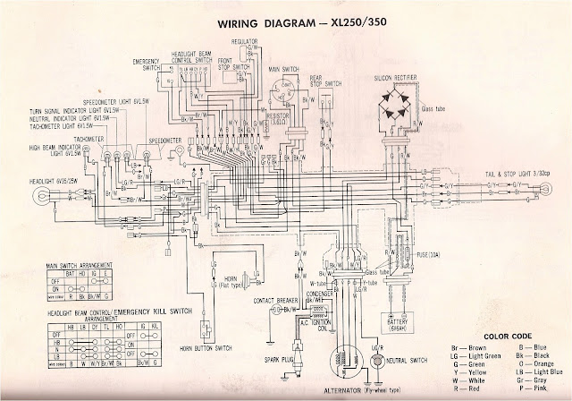 Xl350 Wiring Diagram And Xl250: Headlight Wiring Diagram 1972 Honda Xl250 At Aslink.org