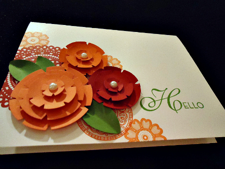 Hello Card with layered paper flowers