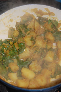 Home grown, homemade sag aloo