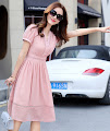5-Color Short Sleeve Chiffon Hollow Linen Chiffon Dress