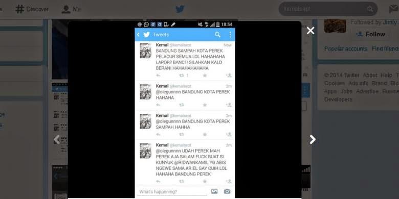 Ridwan Kamil - Walikota Bandung laporkan Penghina Dirinya dan Kota Bandung @kemalsept ke kepolisian