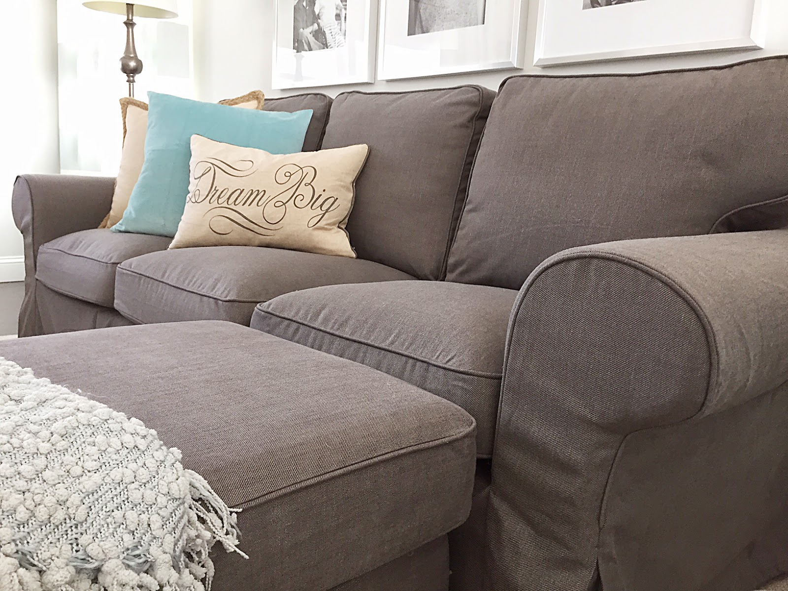 Crafty teacher lady review of the ikea ektorp sofa series for Ikea gray sofa