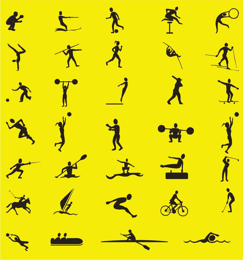 シンプルなスポーツ シルエットの案内板デザイン Vector Sport Silhouettes Collection イラスト素材
