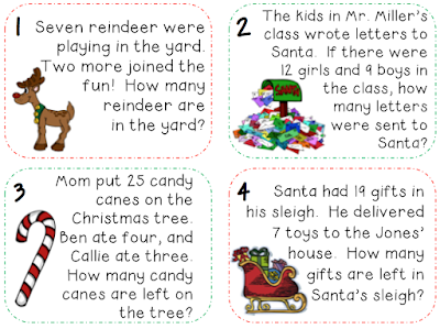 Christmas math word problems for elementary students
