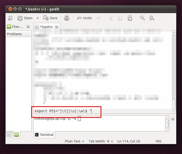 Isi dari file '.bashrc' setelah modifikasi