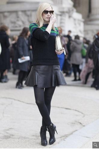 rozkloszowana spódniczka, spódniczka z koła, streetstyle, moda, olivia palermo