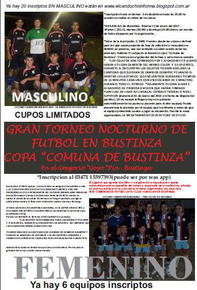 """NOCTURNO """"COPA"""" COMUNA DE BUSTINZA"""