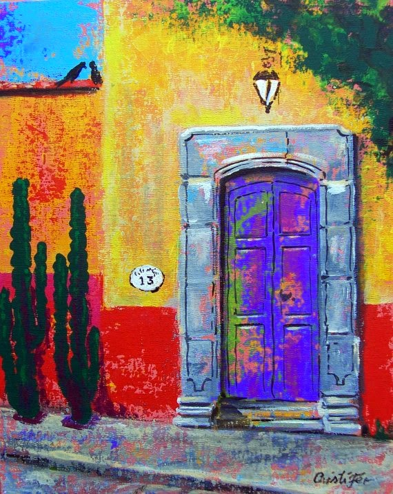 Purple Mexican Door   Original painting acrylic on canvas board 11  x 14  Cost $90 includes shipping to US via mex Post  sc 1 st  Cristi Fer Art Gallery and Workshops San Miguel de Allende Mexico & Cristi Fer Art Gallery and Workshops San Miguel de Allende Mexico ...