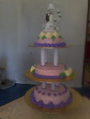Pink Purple Wedding Cake