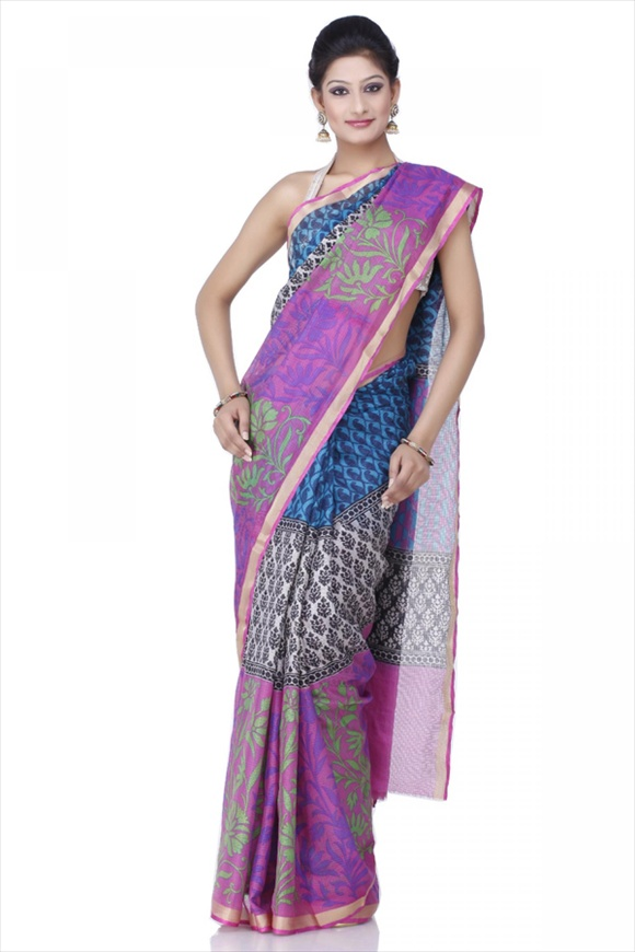 Carnation Pink Net Saree