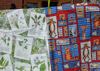 fabric with cats; fabric with herb plants