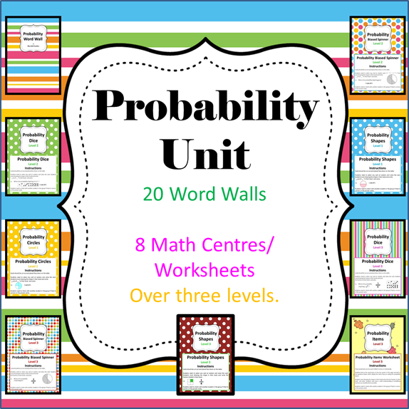 http://www.teacherspayteachers.com/Product/Probability-Unit-8-Math-CenterLiteracy-Worksheets-Wordwall-397489
