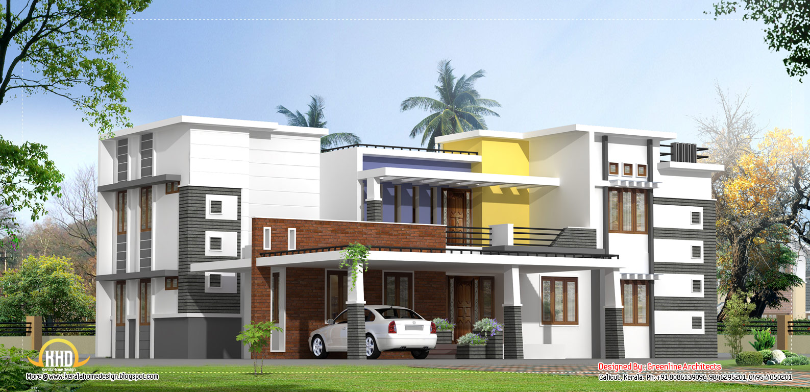 March 2012 kerala home design and floor plans for Contemporary home elevations