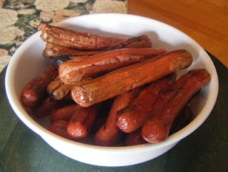 Bowl of hot dogs.
