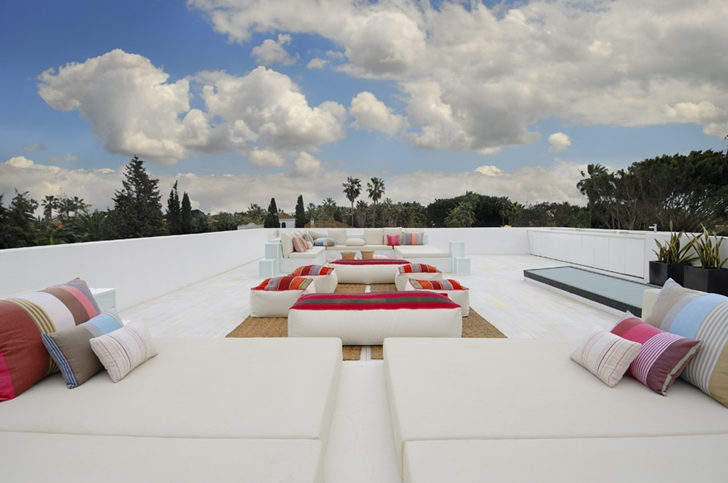 Large rooftop terrace on Sotogrande House by A-Cero Architects