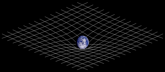 distorted grid with Earth at the centre demonstrating deformation of spacetime.