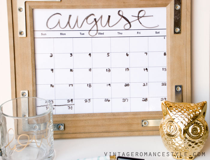 Diy rustic industrial dry erase calendar vintage romance style solutioingenieria Images