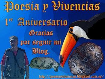 Selo do 1ºaniversário do blog-PoesiaYVivencias do querido amigo Pedro Lopez.