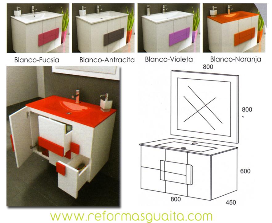 albacete, mueble suspendido en blanco y color ~ reformas guaita - Muebles De Bano Albacete