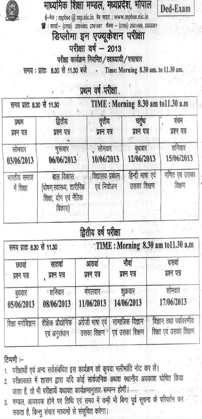 MPBSE D.Ed Exams Time Table 2013