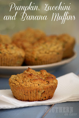 Pumpkin, Zucchini and Banana Muffins - Gluten free, low fat, healthy, clean eating muffins