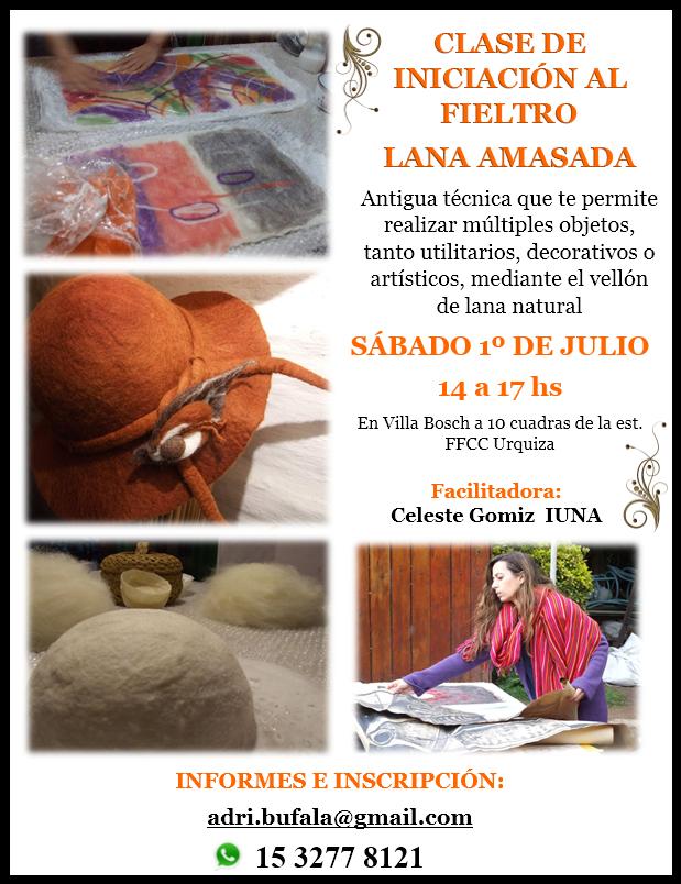 CLASE DE INICIACIÓN AL FIELTRO: LANA AMASADA SÁBADO 1º DE JULIO 14 HS